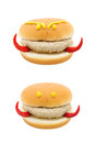 Devil face hamburger isolated on white background concept junk food Stock Images