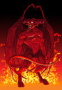 Devil in fire. Royalty Free Stock Photo