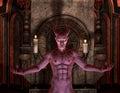 Devil in front of a dark Shrine Royalty Free Stock Photo