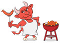 Devil with grilled sausages and apron
