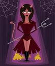 She Devil halloween character vector illustration Royalty Free Stock Photos