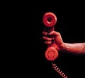 Devil hand with phone handset Royalty Free Stock Photo