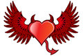 Devil heart with red wings Stock Images