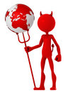 Devil hold earth globe Stock Images