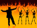 Devil man dancing in hell with fire and skeletons Royalty Free Stock Image