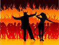 Devil man and woman dancing in hell Stock Photo