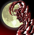 Devil at night image representing a face of a with moon Stock Photos