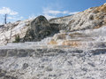 Devil s thumb and mammoth hot spring terraces in yellowstone Stock Photo