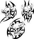 Devil skulls set of black and white vector illustrations Royalty Free Stock Photos