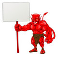 Devil standing holding sign Stock Image