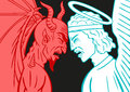 Devil vs archangel collision between two implacable enemies of the and the Stock Photography
