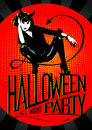 Devil woman halloween party design Royalty Free Stock Image