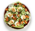 Deviled egg salad from above over white Royalty Free Stock Photos