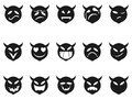 Devilish expressions smiley icons from white background Royalty Free Stock Photo