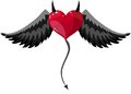 Devilish heart with horns and wings red black tail at halloween vector illustration Stock Photography