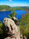 Devils lake state park wisconsin rocky outcrop over in Royalty Free Stock Photo