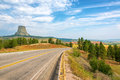 Devils Tower and Highway Royalty Free Stock Photo