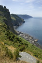Devon s dramatic coastline at valley of the rocks england Stock Photography