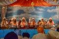 Devotee sikhs recite prayers los angeles ca abril at the anniversary of baisakhi celebration Stock Photo