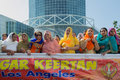 Devotee sikhs women marching los angeles ca abril at the anniversary of baisakhi celebration Stock Images