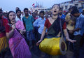 Devotees from abroad two krishna lover different foreign country join ratha yatra festival and sing kirtana song at the procession Stock Image