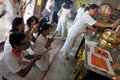 Devotees Pray in Taoist Temple Stock Images