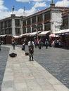 Devout Tibetans outside Jokhang Temple Royalty Free Stock Photo