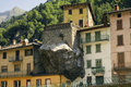 Dezzo di scalve village in the province of bergamo lombardy italy built very close to the mountain Stock Photography