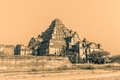 Dhammayangyi temple at sunset in sepia color Stock Photo