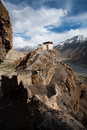 Dhankar Monastery Valley Below Vertical Stock Photo