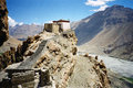 Dhankhar tibetan temple with himalaya landscape a photo of dhankar spiti valley himalay precipice river rocks valley and high Stock Photos