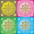 Dharmacakra - dharma wheel Stock Image