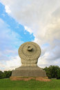 Dharmacakra at phutthamonthon buddhist park in nakhon pathom province thailand or the wheel of doctrine is the symbolic stone Royalty Free Stock Photography