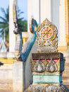Dharmacakra in the temple boundary marker of dindum kantharawichai maha sarakham thailand Stock Photography