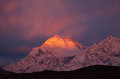 Dhaulagiri peak sunrise mountain dissolves in the clouds m at Stock Photos