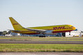 Dhl cargo aircraft boeing has announced that it will be the logistics partner for the rugby world cup their is pictured Royalty Free Stock Photo