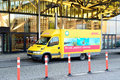 DHL courier delivery service car Royalty Free Stock Photo