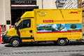 Dhl truck tight crop of a german in a street Royalty Free Stock Photography
