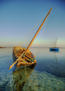 Dhow catching golden sunrise Royalty Free Stock Photo
