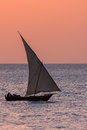 Dhow traditional sailing vessel in the evening light Royalty Free Stock Photo