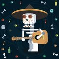 Dia de los muertos. Day of The Dead color illustration with bone, surrounded by holiday attributes.
