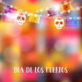 Dia de Los Muertos, Day of the Dead or Halloween card, invitation. Party decoration, string of lights, party flags with skulls.