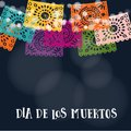 Dia de los Muertos or Halloween card, invitation. Mexican Day of the Dead. Garland of lights, handmade cut colorful