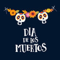 Dia de los Muertos or Halloween greeting card, invitation. Mexican Day of the Dead. String decoration with mums flowers