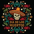Dia de los Muertos. Mexican sugar skull with letters and ornament Royalty Free Stock Photo