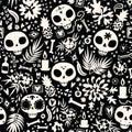 Dia de los muertos seamless vector pattern. Royalty Free Stock Photo