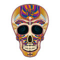 Dia de muertos tattoo skull day of the dead colorful illustration traditional mexican with lots hypnotic ornaments to very Royalty Free Stock Photo