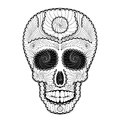 Dia de muertos tattoo skull day of the dead illustration traditional mexican with lots hypnotic ornaments to black white colors Stock Images
