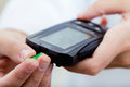 Diabete-control test blood sugar with glaucometer Royalty Free Stock Photo