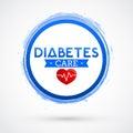 Diabetes Care vector icon design, blue circle emblem